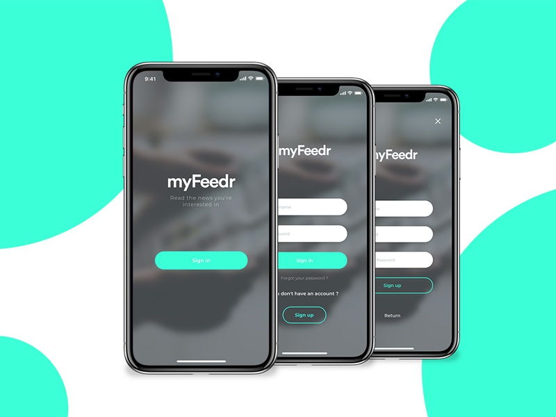 DailyUI - myFeedr Sign in mockup user interface challenge iphone xd adobe ui application mobile design dailyui