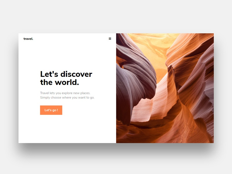 Travel Landing Page - HTML + CSS minimal simple travel page landing css html
