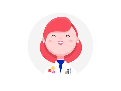 Pediatrician flat profile character persona illustration