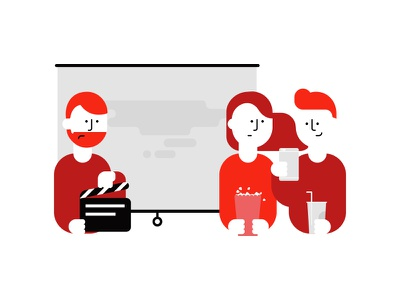 Analogy about Service Design - Take 1 story character red flat illustration design thinking service design