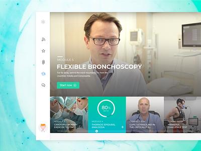 Healthcare e-Learning Platform gradient progress graphic menu dashboard character health user interface hover design ui website