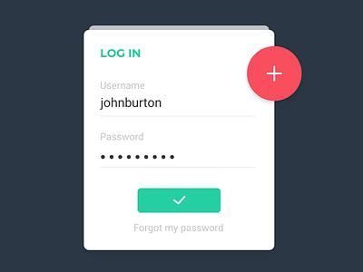 Login Card user interface card design ui flat