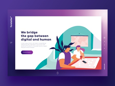 Foreteller New Brand user interface branding website purple gradient ui illustration
