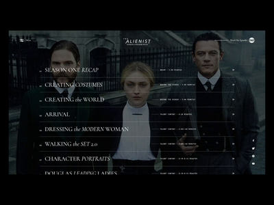 The Alienist list the alienist ui design concept animation carousel website
