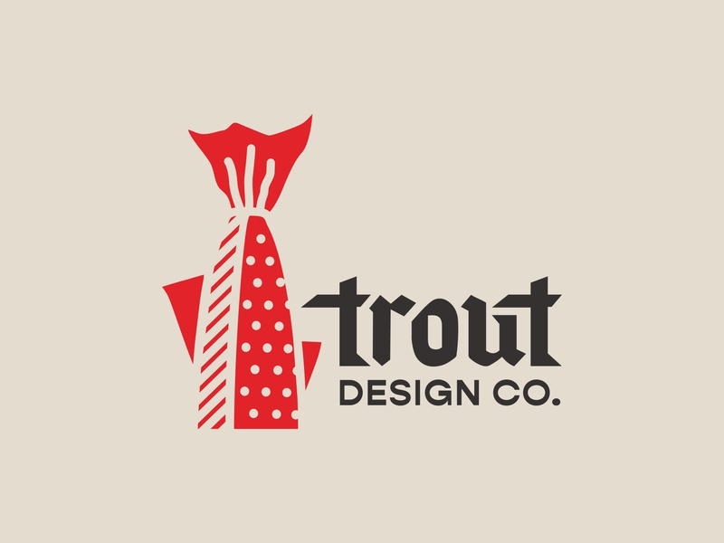 Trout Design Co. 3/12 fish trout custom type logotype identity branding sketch illustration icon logo type typography color vector design
