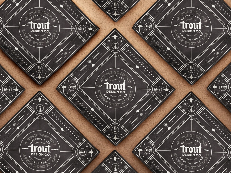 Trout Design Co. 11/12 logomark identity design studio trout handkerchief rock and roll bandana western seal branding logo type typography vector design