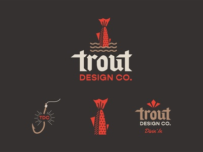 Trout Design Co. logotype mark brand design trout branding system identity sketch branding illustration icon logo type typography color vector design