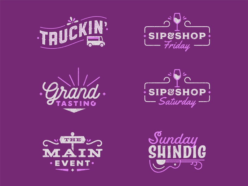 Highlands Food & Wine Festival 2019: Event Logos folk music branding system events festival food wine identity sketch illustration branding icon logo type typography color vector design