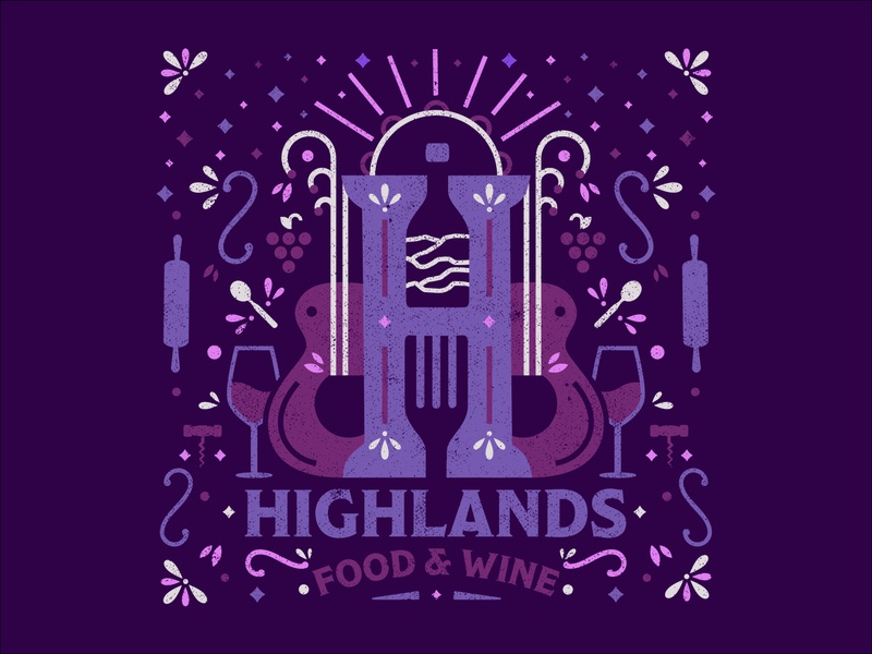 Highlands Food & Wine Festival 2019 2019 campaign pattern wine food music folk festival branding system identity illustration branding icon logo type typography color vector design