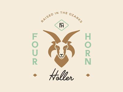 Four Horn Holler: Branding System sheep farm rustic seal badge ram logos brand identity branding illustration logo type typography color vector design