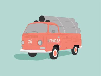 Hermosa Infrastructure Materials Illustration illustrator adobe california vibes hermosa materials infrastructure chill california branding illustration logo type typography color vector design