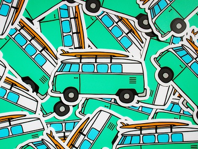 VW Stickers travel road trip hippie vw sketches for sale van stickers