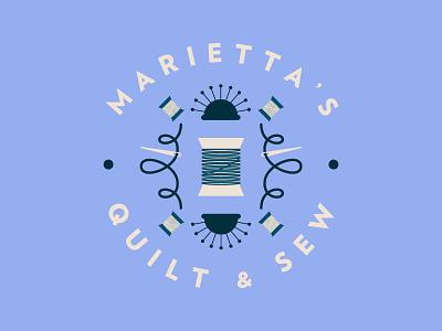 Marietta's Quilt & Sew identity brand design sewing sew quilt badge branding logo