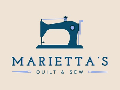 Marietta's Logo identity brand design sewing sew quilt branding logo