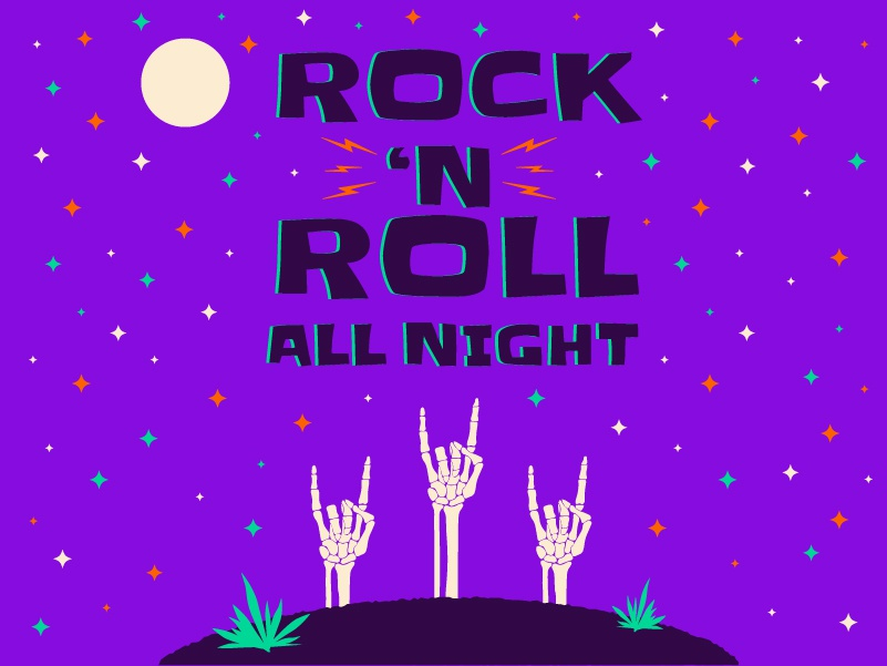Halloween 2018: Rock 'N Roll All Night night rock n roll skeleton halloween typography color icon sketch vector illustration design