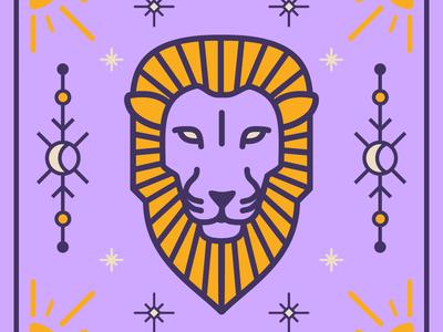 Leo Season lion leo zodiac astrology icon sketch illustration vector color logo design