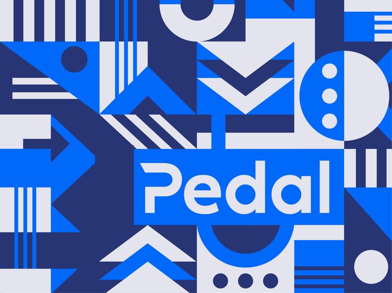 Pedal geometric branding system process transportation wayfinding elements system app car buying pattern identity branding illustration icon logo color vector design