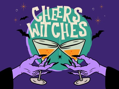 Cheers Witches happy halloween halloween design holiday halloween cheers drinks witch halloween party texture type typography sketch illustration color vector design