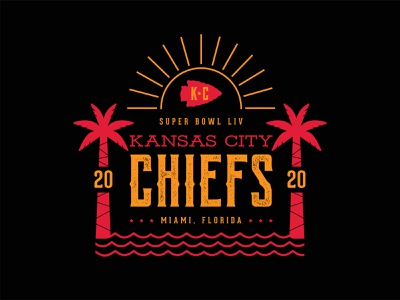 Kansas City Chiefs kansascity chiefs palm tree miami nfl champs super bowl football texture type identity branding illustration logo icon color vector design