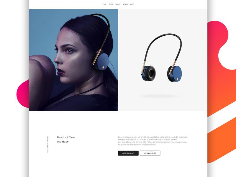 Microsite for Headphones microsite landing page web design ux interface ui minimal project sketch design