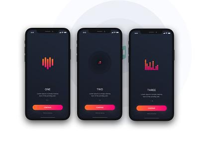 Headphone app onboarding music app tracking app ux interface ui minimal project sketch design