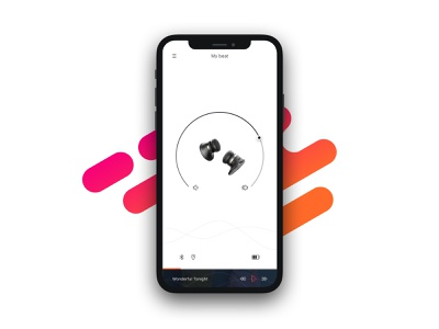 Headphone app home music app tracking app ux interface ui minimal project sketch design