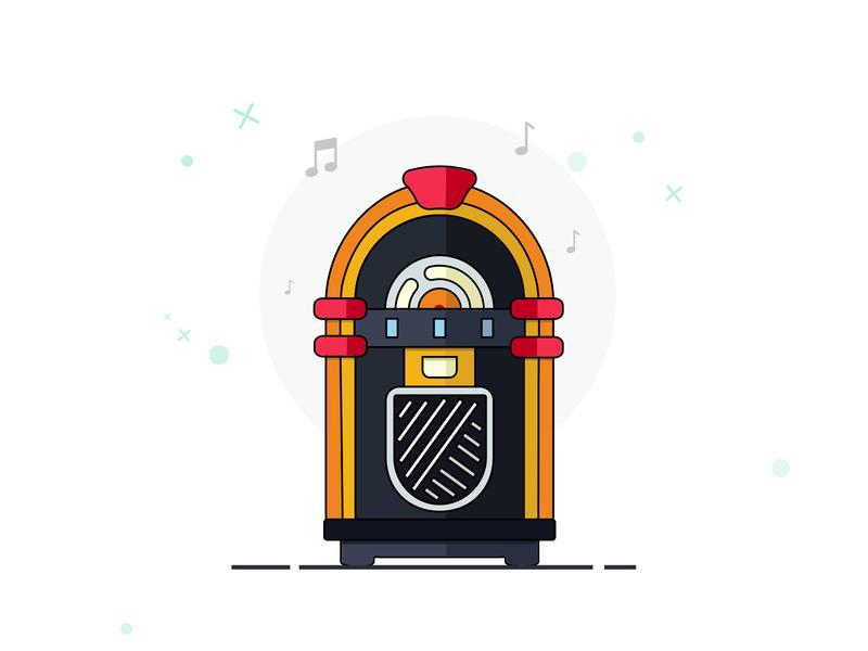 Jukebox_artwork music art jukebox vector minimal sketch design illustration