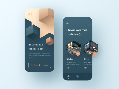 Interior Mobile App cube design product menu login welcome screen illustration isometric iphone room home app mobile ui architecture interior