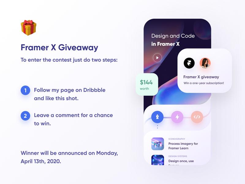 Framer X Giveaway! 🎁 tool ui mobile framer x framer subscription license contest freebie free win gift giveaway