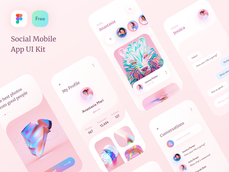 FREE Social Mobile App UI Kit - Figma screen iphone template freebie figma ui kit app mobile social free