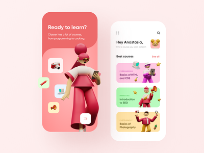 Online Courses Mobile App screen ui app mobile teach illustration 3d learn list welcome home onboarding education course online