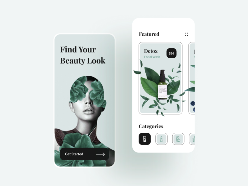 Beauty Shop Mobile App splash onboarding sell buy e-comerce ecommerce store shop figma sketch kit ui screen healthcare skincare mobile app makeup cosmetics beauty
