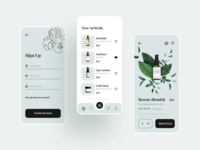 Cosmetics Mobile App UI Kit natural e-commerce ecommerce kit iphone app mobile ui store shop makeup product menu home welcome register sign up skincare cosmetics beauty