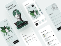 Sia - Beauty App UI Kit list home sign up cart onboarding welcome screen mobile e-commerce ecommerce shopping store shop healthcare skincare cosmetics kit ui app beauty
