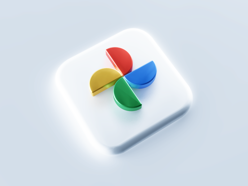 Google Photo 3D Icon product company blender c4d 3dsmax photo google mobile app app icon icon logotype logo branding illustration 3d