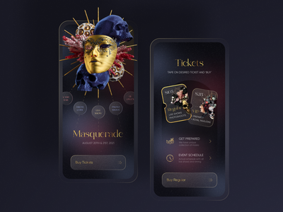 Masquerade Mobile App onboarding party application dark tickets ticket event gold theater skull 3d performance theatre mask ball masquerade iphone app mobile ui