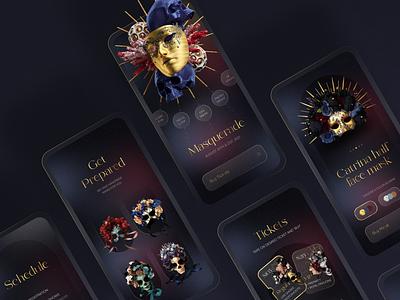 Masquerade Mobile App 3 store shop collection presentation event party carnaval ball masquerade iphone app mobile ui