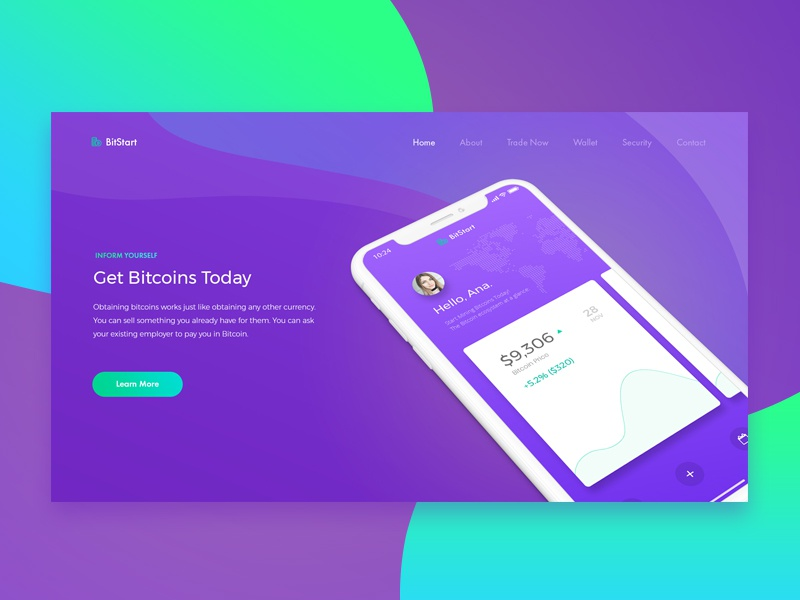 Homepage for a Cryptocurrency Startup