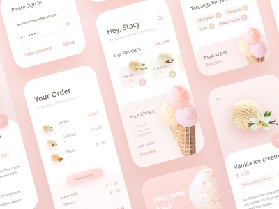 Ice Cream - Part 3 slider vanilla flavor pastel ui shopping welcome sign in order mobile app mobile iphone x iphone delivery food ecommerce ice cream app design application app