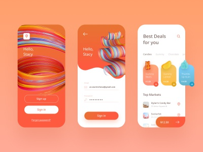 Yummy Land Mobile App colorful gummy checkout slide cart order ecommerce shop candy sweet welcome sign in login screen app mobile yummy