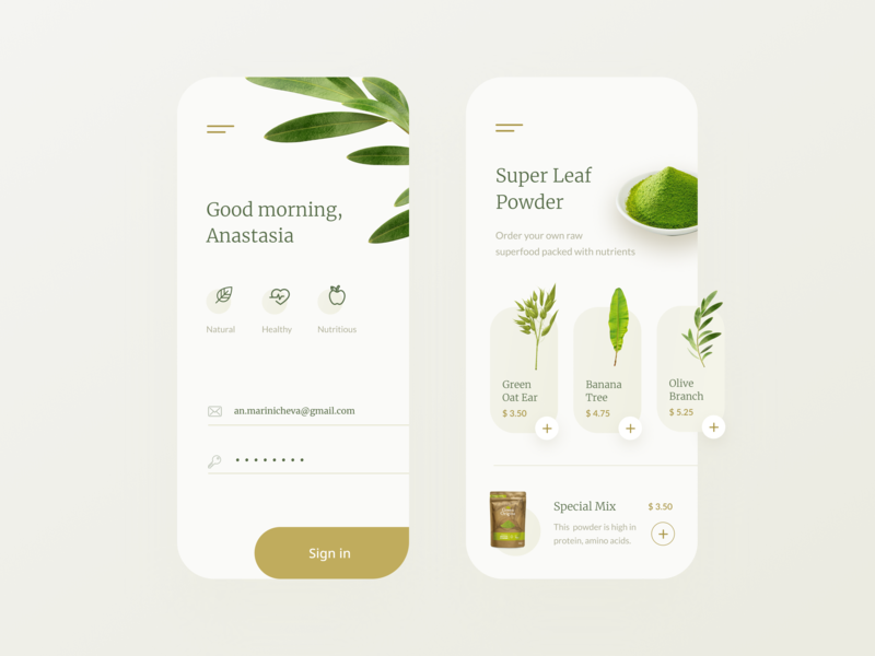 Green Mobile App mobile app mobile tea order shop welcome sign in homepage login leaves leaf food herbs flora powder green