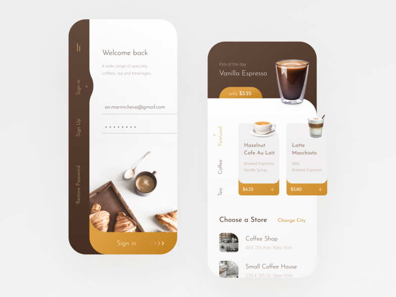 Coffee Shop Mobile App menu iphone x iphone welcome login sign in espresso ui mobile app app ecommerce store shop buy drink food order cafe coffe coffee