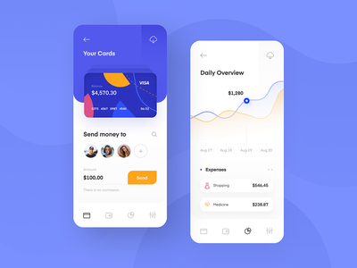 Mobile Banking App export ui mobile ui line list graph homepage menu credit card card overview chart screen iphone x iphone application app banking bank mobile