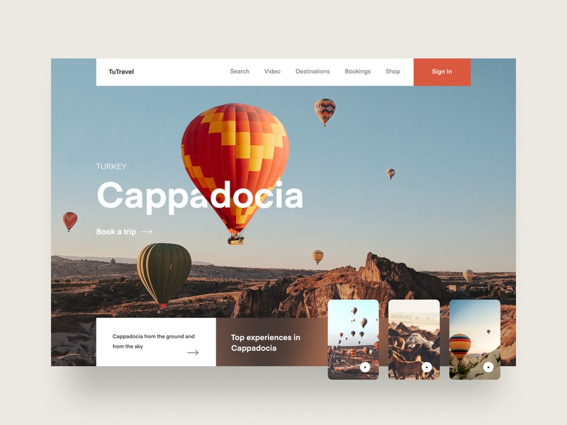 Cappadocia Travel Website booking trip ui web design website home turkey nature mountains travel balloon air balloon cappadocia