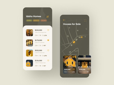Home Search Mobile App #2 screen iphone ui app mobile list real estate buy sell rent apartment house map street search home