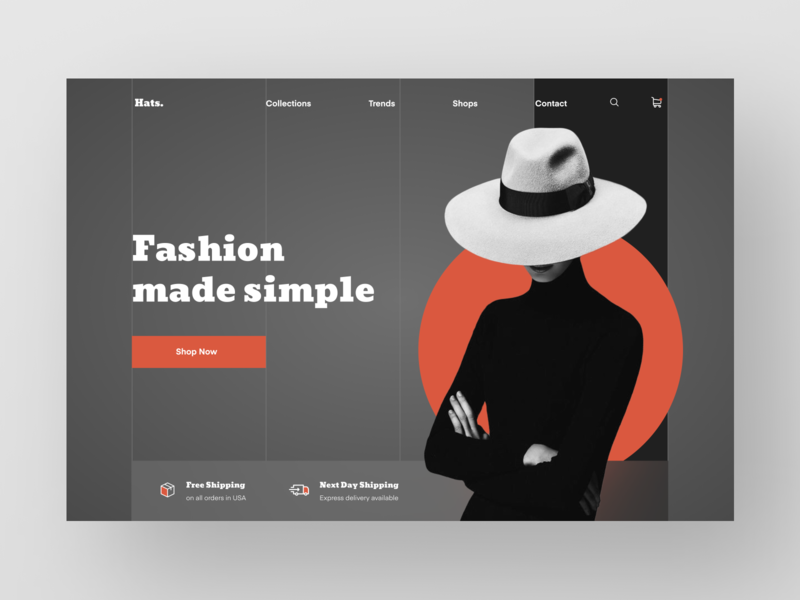 Hats Website (with video and guides) mp4 guide video trend collection shipping ship website web design web ecommerce sell buy shop fashion cloth cap hats hat minimal