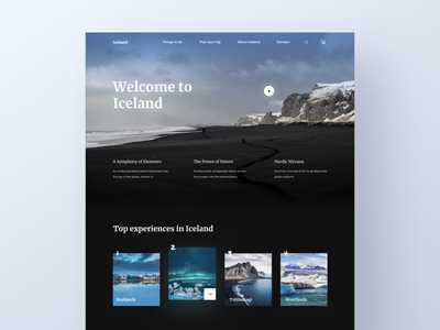 Iceland - Travel Website ux ui promo landing homepage home slider video nature iceland country city guide tour travel agency web design website travel