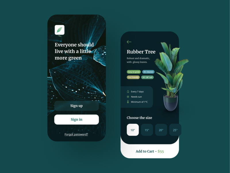 Plant Shop Mobile App iphone mobile ui application mobile app mobile product description login sign in welcome tags leaf leaves pot potted nature flower tree plants plant