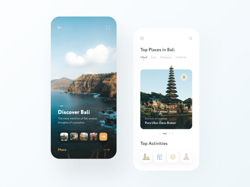 Travel Mobile App menu trip travel login welcome home overlay bali app screen iphone ui mobile