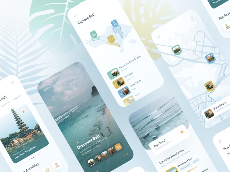 Mobile Travel App list map exotic travel mobile ui app design app bali trip mobile